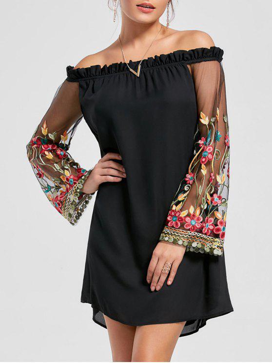 Schulterfreies Kleid mit Stickerei und trompeten Ärmel - Schwarz XL