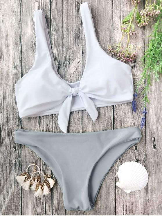hot Padded Knotted Bralette Bikini Set - GREY AND WHITE S