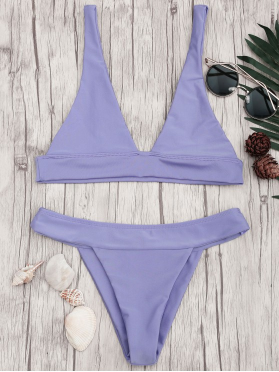 hot Plunge Bikini Top and High Cut Bottoms - PURPLE S