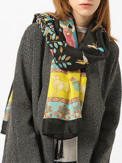Tassels Ethnic Figure Pattern Shawl Scarf - Black