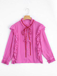 Ruffle Hem Button Up Blouse - Rose Red L