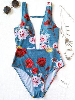 One Piece Plunging High Cut Floral Swimwear - Light Blue L