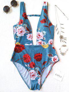 Maillot De Bain 1 Pièce Décolleté Plongeant Floral - Bleu Clair L