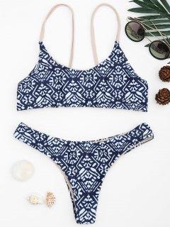 Fliesen Druck Cami Bralette Bikini Set - Blau & Weiß S