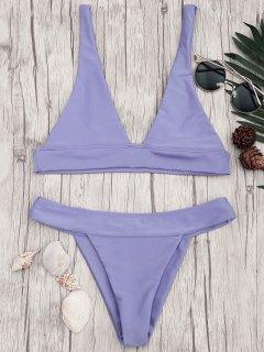 Bikini Haut Col Plongeant Et Bas Taille Haute - Pourpre S