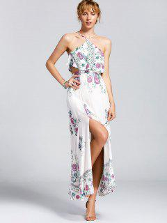 High Cut Overlay Floral Maxi Dress - Floral M