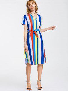 Belted Stripes Casual Midi Dress - Stripe Xl