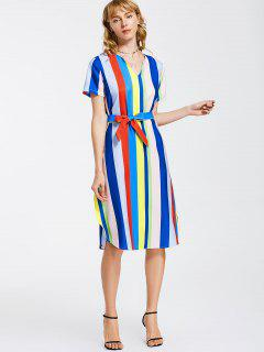 Belted Stripes Casual Midi Dress - Stripe M
