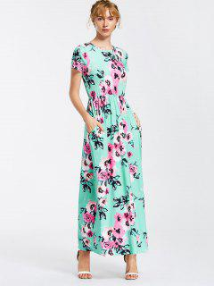 Floral Print Round Collar Maxi Dress - Lake Green S