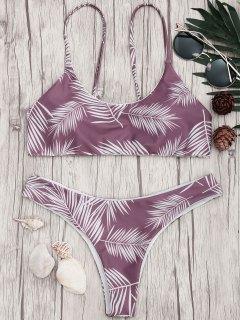 Palm Leaf Print Padded Bralette Bikini Set - Purple And White L
