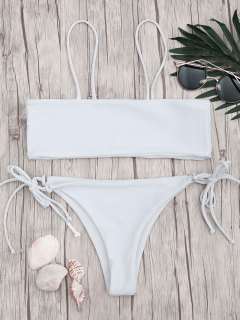 Bandeau Bikini Top And Tieside String Bottoms - White M