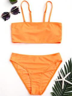 Padded High Cut Bandeau Bikini Set - Orange L