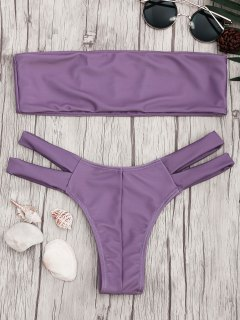 Strapless Bandeau Bikini Top And Cutout Bottoms - Purple S