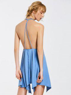 Asymmetrical Backless Mini Dress - Blue 2xl