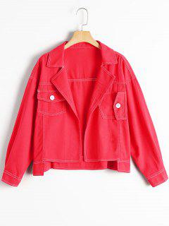 Oversized High Low Denim Jacket - Red M