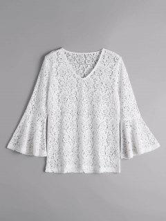 Flare Hülse Sheer Lace Bluse - Weiß M