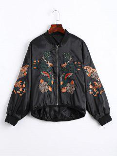 Floral Embroidered High Low Bomber Jacket - Black S