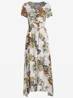 High Slit Floral Print Tassels Maxi Dress - Multi S