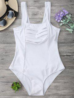 Shaping Square Neck Pleated One Piece Swimsuit - White M