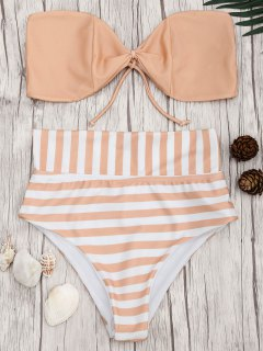 Bandeau Striped High Waisted Bikini Set - Orangepink M