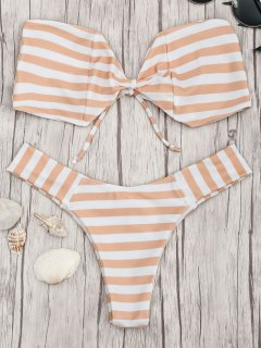 Bow Bandeau Striped Bikini Set - Orange And White M