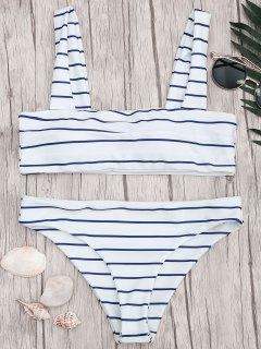 Nautical Striped Square Neck Padded Bikini Set - Blue And White M