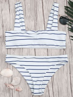 Nautical Striped Square Neck Padded Bikini Set - Blue And White S