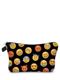 Emoji Print Makeup Bag - Black