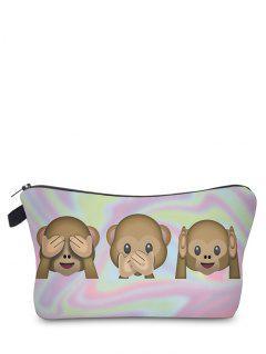 Emoji Print Makeup Bag - Pinkish Purple