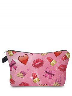 Emoji Print Makeup Bag - Rose Red
