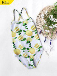 Lemon Print Kids Strappy One Piece Swimsuit - White And Yellow 7t