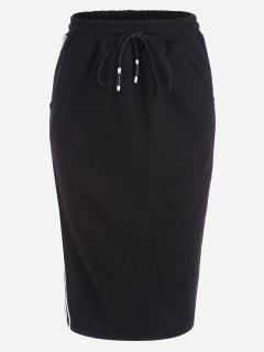Drawstring Striped Skirt With Pockets - White And Black M