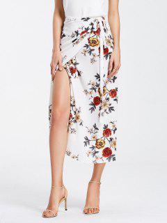 Floral Print Self Tie Wrap Skirt - White