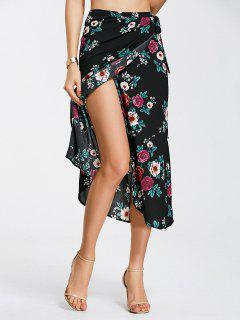 Floral Print Self Tie Wrap Skirt - Black