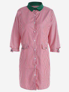Button Up Striped Shirt Dress - Red L