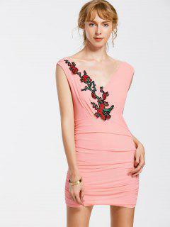 Vestido Estampado Sin Mangas Con Estampado Floral - Rosado