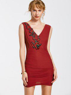 Robe Moulante Floral Sans Manches - Rouge