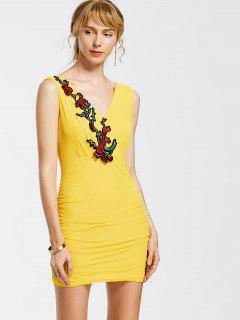 Floral Patched Sleeveless Bodycon Dress - Yellow