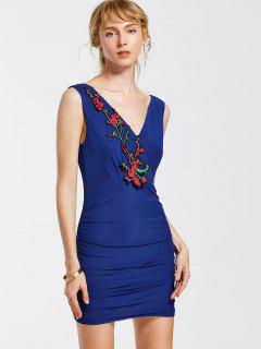 Robe Moulante Floral Sans Manches - Bleu