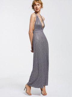 Halter Open Back Geometric Maxi Prom Dress - Geometric Print 2xl