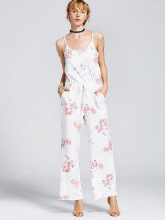 Drawstring Pockets Floral Cami Jumpsuit - White M