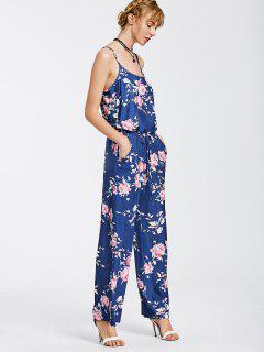 Drawstring Pockets Floral Cami Jumpsuit - Blue Xl