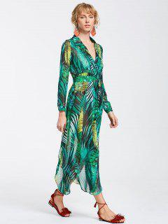 High Slit Tropical Beach Maxi Dress - Green M