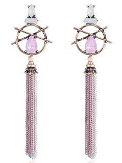 Hollow Out Teardrop Artificial Gem Fringed Earrings - Pink