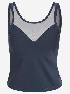 Padded Mesh Insert Sweat Tank Top - Grey Blue L