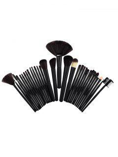 Kit De Cepillos De Maquillaje De Tubo De Aluminio 32Pcs - Negro
