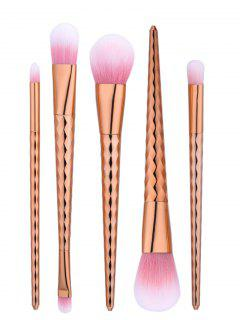 5Pcs Tapered Wave Handle Makeup Brushes Set - Rose Gold