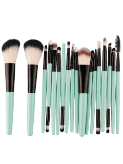 18Pcs Multifunctional Facial Makeup Brushes Set - Black And Green