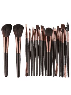 18Pcs Multifunctional Facial Makeup Brushes Set - Black Brown