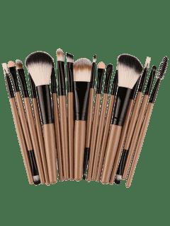 18Pcs Multifunctional Facial Makeup Brushes Set - Khaki+black